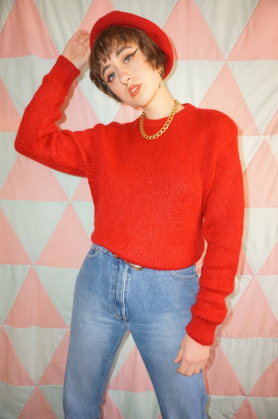Vintage 80s Bright Red Mohair Mix Jumper - image 2