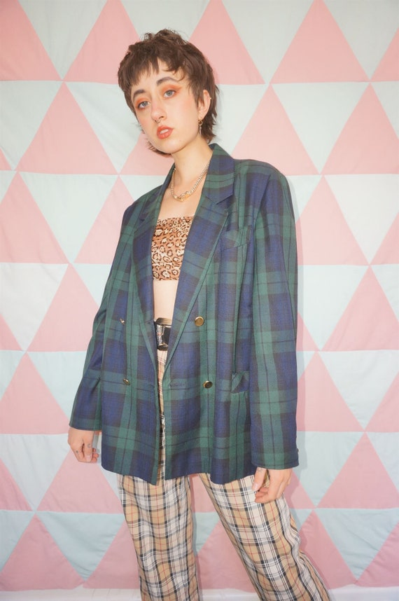 Vintage 80s Green / Blue Plaid Double Breasted Bla