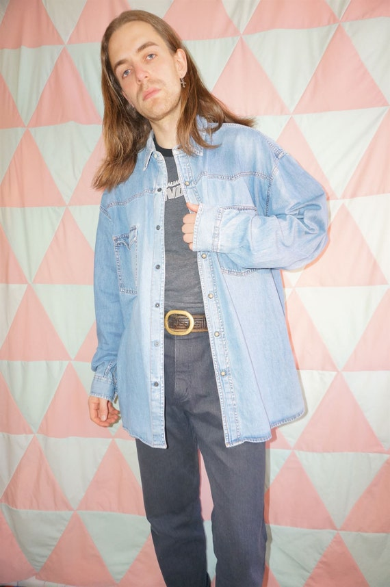 Vintage 80s Light Blue Grunge Denim Shirt