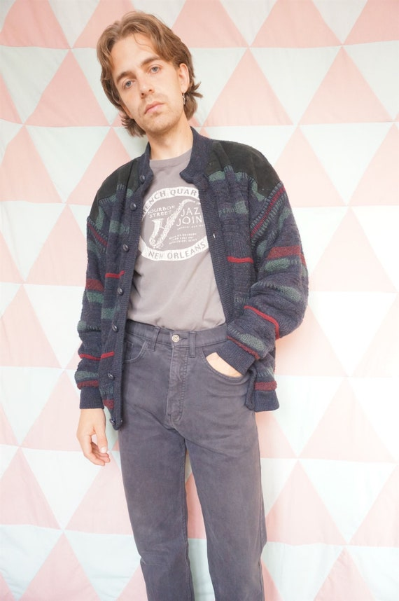 Vintage 90s Grungy Suede Patched Padded Lined Car… - image 2