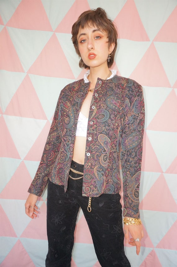 Vintage 90s Paisley Floral Tapestry Collarless Bla