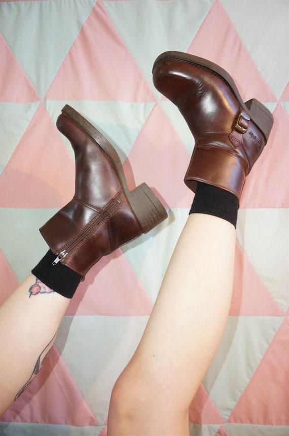 Vintage 90s Wrangler Brown Chunky Heel Leather Ank