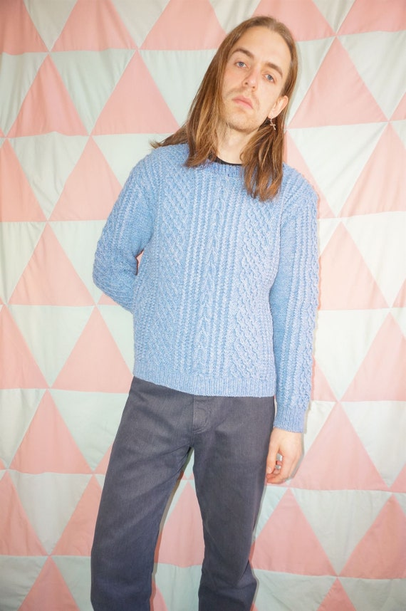 Vintage 80s pastel blue aran cable chunky hand kni