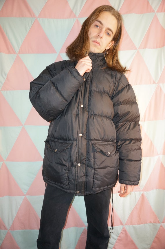 Vintage 80s Black Down Filled Puffer Jacket