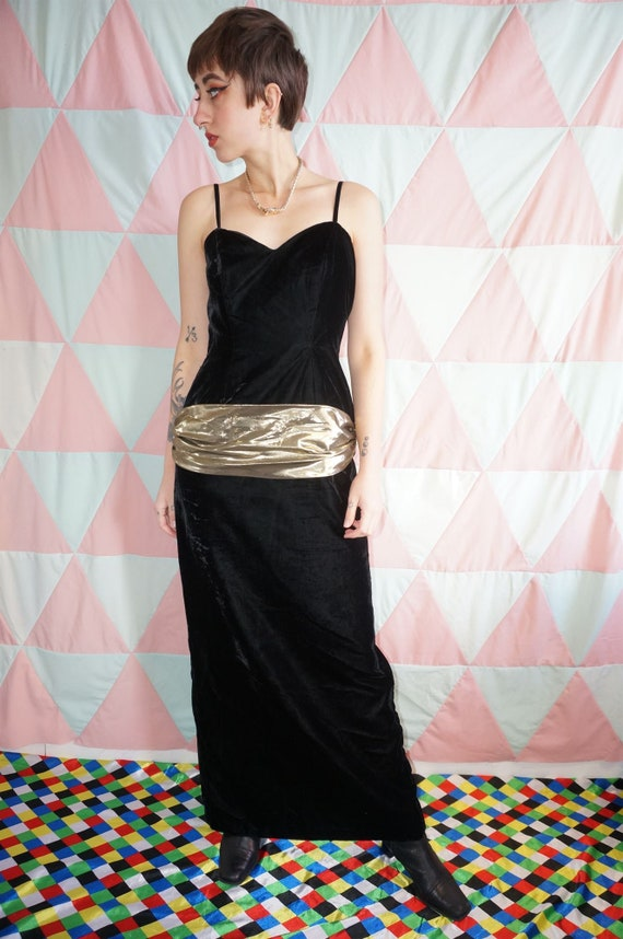Vintage 80s Black Velvet Evening Dress With Gold … - image 6