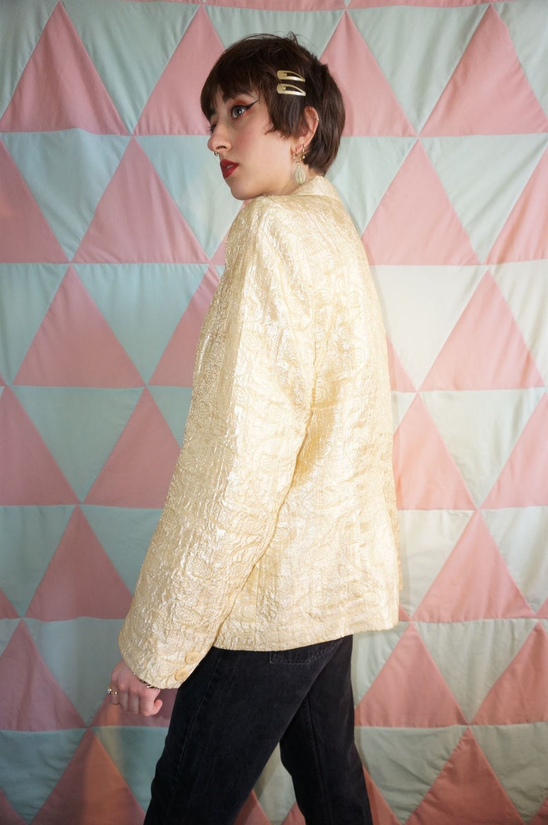 Vintage 90s Metallic Pale Gold Swirl Pattern Blazer Jacket