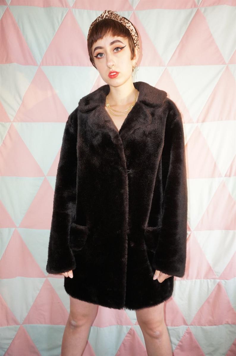 Vintage 80s Soft Dark Brown Faux Fur Coat
