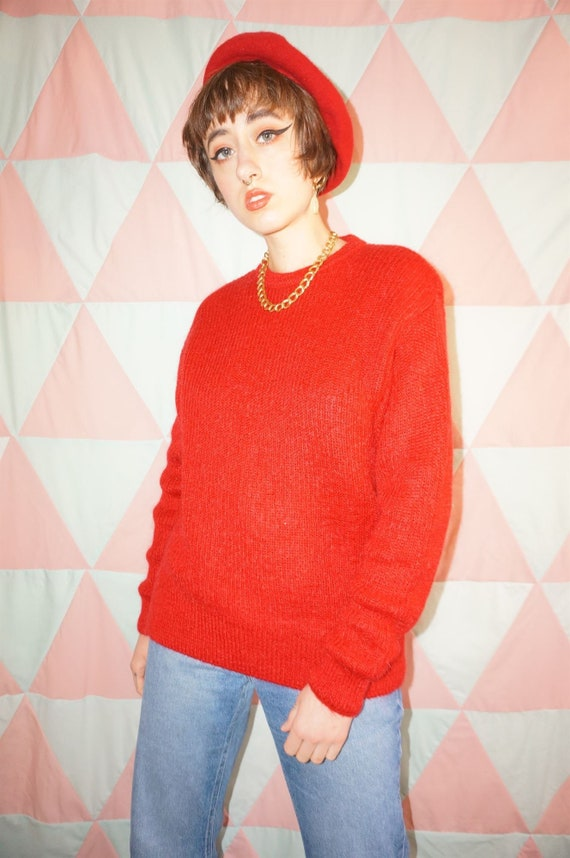 Vintage 80s Bright Red Mohair Mix Jumper