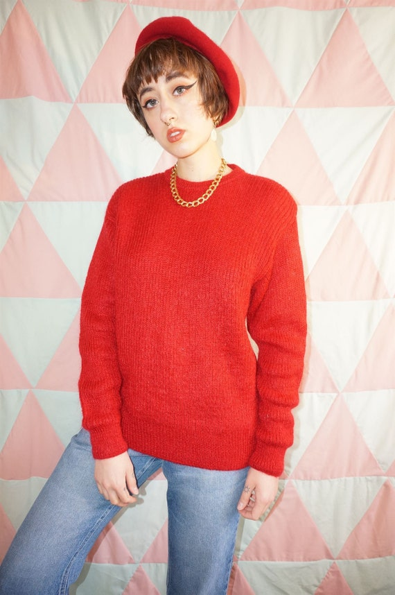 Vintage 80s Bright Red Mohair Mix Jumper - image 4