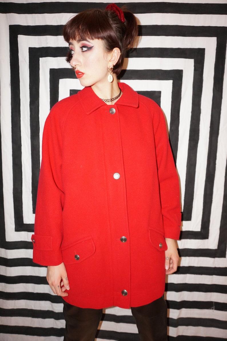 Vintage 80s Red Wool Coat