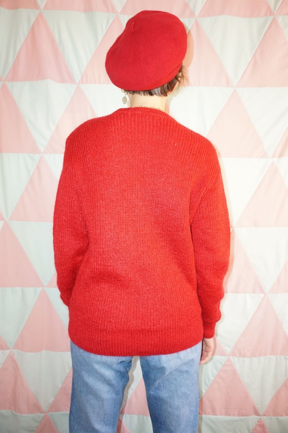 Vintage 80s Bright Red Mohair Mix Jumper - image 6