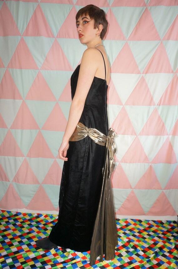 Vintage 80s Black Velvet Evening Dress With Gold … - image 7