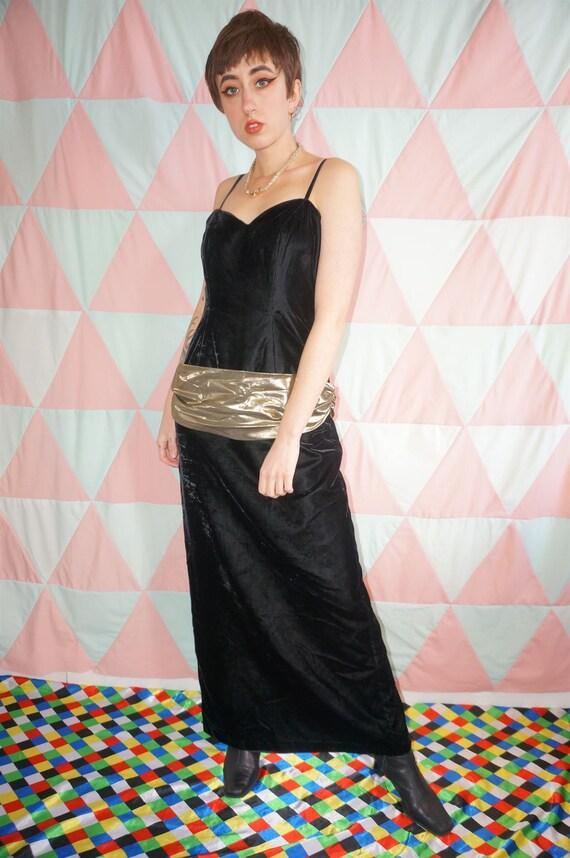 Vintage 80s Black Velvet Evening Dress With Gold … - image 3