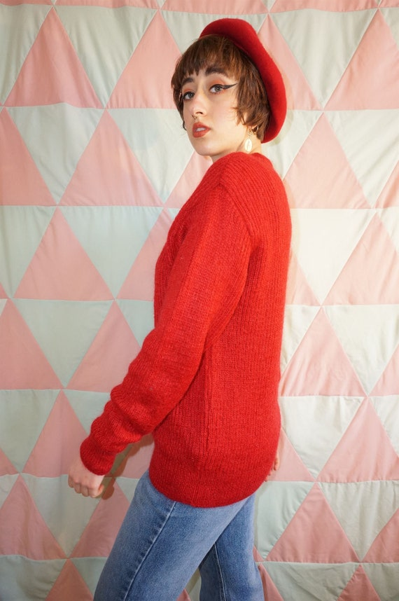 Vintage 80s Bright Red Mohair Mix Jumper - image 5