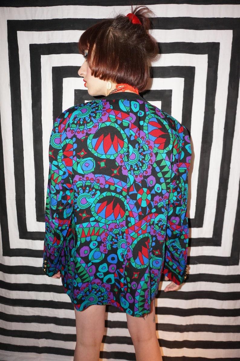 Vintage 80s Colourful Patterned Light Wool Jacket