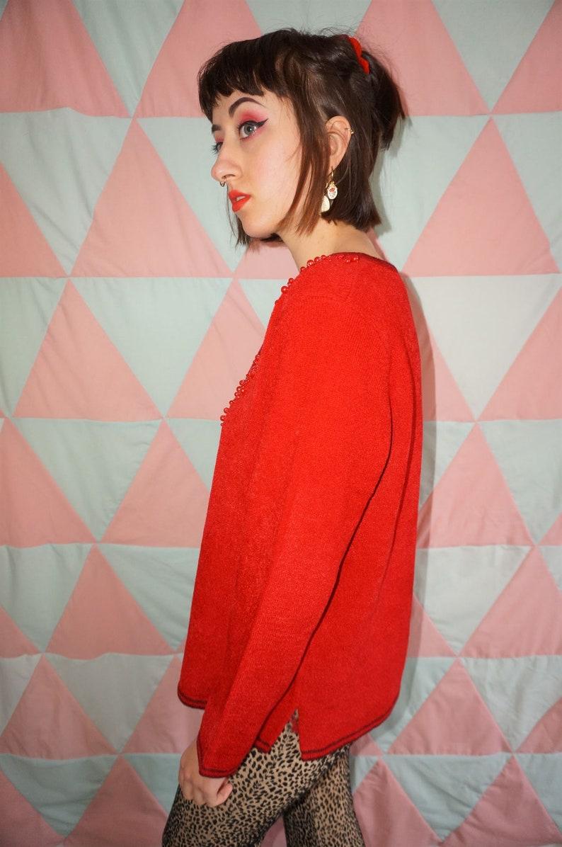 Vintage 90s Red Beaded Jumper
