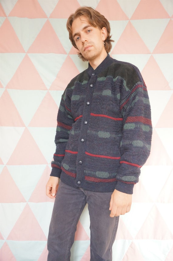 Vintage 90s Grungy Suede Patched Padded Lined Car… - image 7