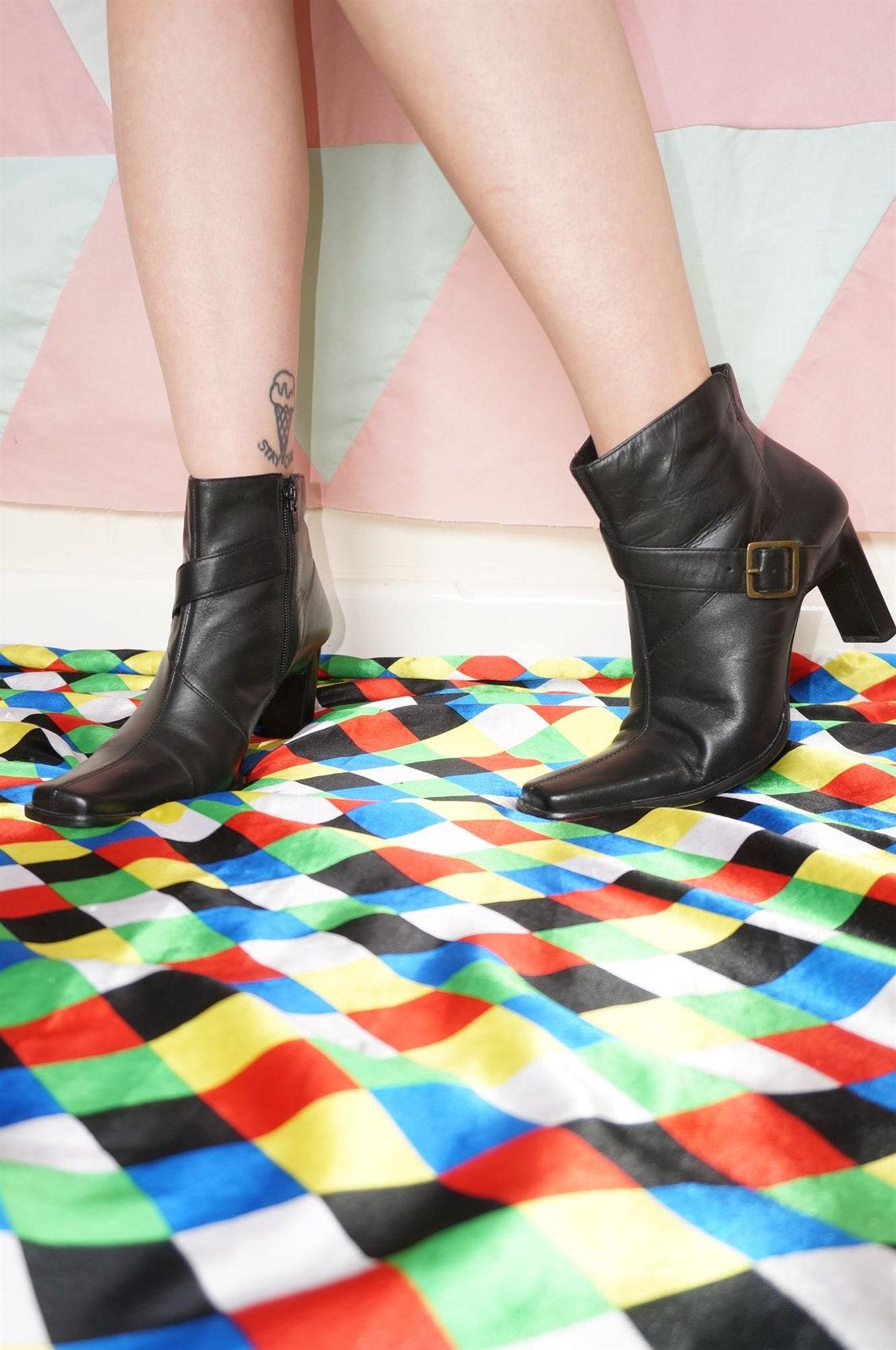 Vintage 90s Black Leather Gold Buckle High Heel Ankle Boots - Big Sale 67pkz