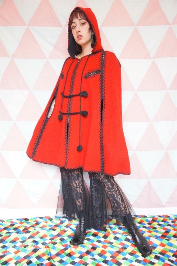 Vintage 60s Red Wool Boho Fairytale Hooded Cape