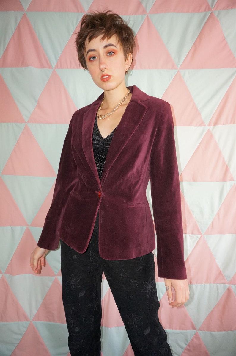 Vintage 80s Burgundy Velvet Blazer Jacket