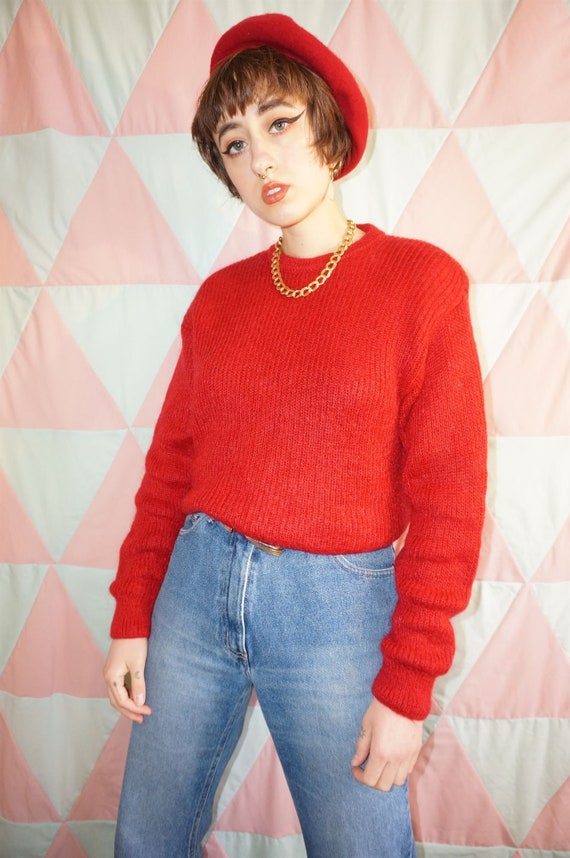 Vintage 80s Bright Red Mohair Mix Jumper - image 3