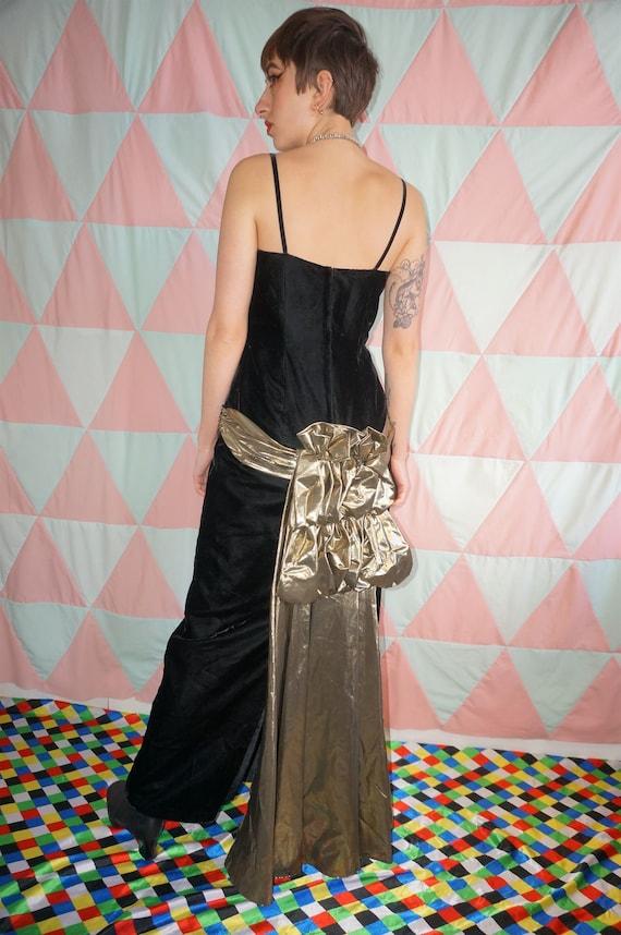 Vintage 80s Black Velvet Evening Dress With Gold R