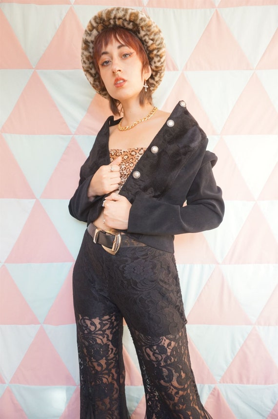 Vintage 80s Black Crop Military Jacket With Faux … - image 4