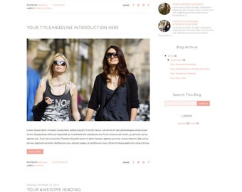 "SALE! Blogger Template, Mobile Responsive, Blog Theme ""Hansuja"", Instant Download"