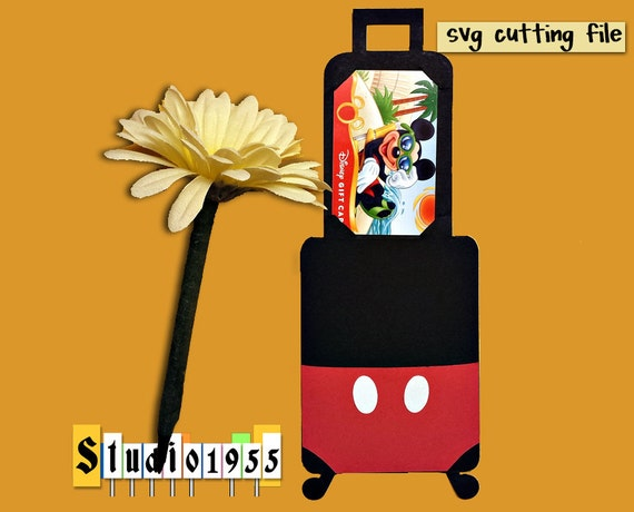 Mickey Suitcase Gift Card Holder Svg Instant Download Fcm Cut Etsy