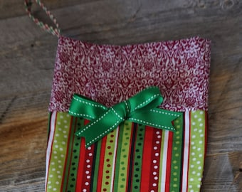 Colorful Ribbon Print Christmas Holiday Stocking with accent Cuff