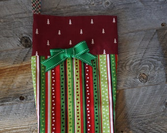 Christmas Stocking in Colorful Ribbon Print / Christmas Holiday Stocking / Holiday Stocking / Modern Christmas Holiday Stocking / Cuff Sock