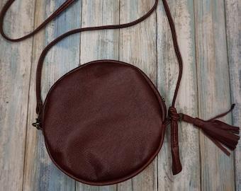 Soft Leather Round Purse, Crossbody Bag, Round Bag