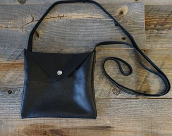 Soft Leather Purse with long strap / snap closure ~ iPhone, wallet and ID Bag