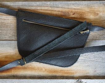 Leather Fanny Belt ~ Moto Fanny Pack ~ Music Concert Belt ~ Travel Money Belt ~ Concert Belt ~ Leather Bum Bag ~ Black Leather Fanny Pack