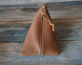 Carmel Color Soft Leather Coin Purse / Leather Zippered Pouch / Money Coin Pouch / Soft Leather Coin Purse / Zip Pouch / Leather Coin Pouch