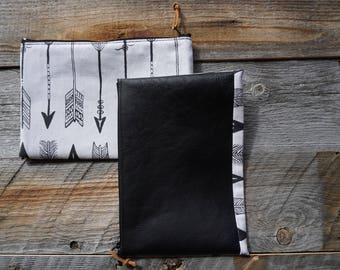 Leather & Cotton Zippered Pouch ~ School Pouch ~ Cell phone Pouch ~ Travel Pouch ~ Make Up Pouch