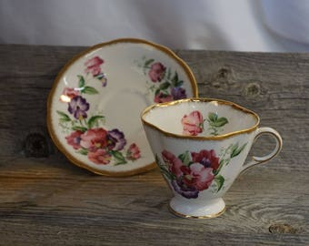 Vintage Tea Cup / Gold Trim ~ made in England ~ Clarence Bone China Tea cup and Saucer / hand painted