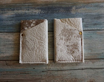 White Speckled Hide Leather 3 compartment Front Pocket Wallet / Card Holder ~ Credit Cards / ID Wallet / Money Credit Cards / Leather Wallet