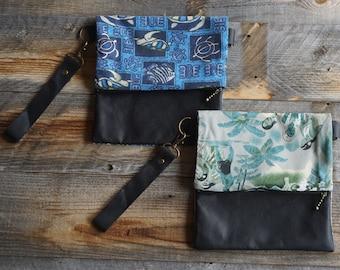 Tiki Fold Over Leather Purse ~ Wristlet ~ Fabric Plus Leather Purse ~ Summer Purse ~ Zipper Leather Purse ~ Tiki Print Purse