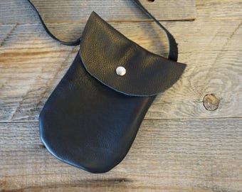 Soft Leather Pouch in Black with long strap / snap closure ~ Cell Phone Bag ~ Sunglass and ID Bag ~ Evening Purse ~ Concert Purse
