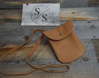 Soft Carmel Leather Pouch with long strap / Phone Cross Body Purse / Concert Pouch /  Purse / Music Pouch / Travel Purse / Shopping
