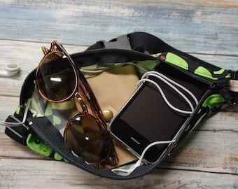 Active Green Heart Fanny Belt ~ Travel Pack ~ Running Fanny Belt ~ Travel Money Belt ~ Music Belt ~ Festival Fanny Pack Belt
