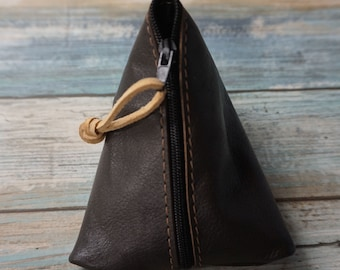 Leather Coin Purse / Leather Zippered Pouch / Money Coin Pouch / Soft Leather Coin Purse / Zip Pouch / Leather Coin Pouch