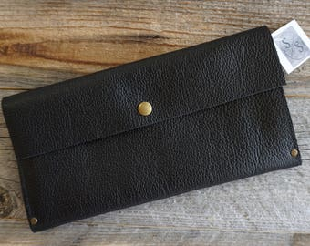 Black Motorcycle Leather Clutch Purse,  Document Holder, Leather Evening Bag, Leather Purse, Leather Clutch, Everyday Clutch, Leather Clutch