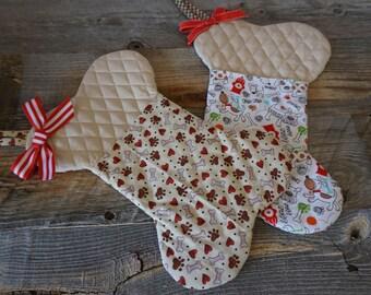 Dog Christmas Stocking ~ Bone Shape ~ Holiday Treat Pocket