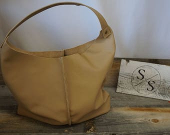 Soft Leather Sloughy Catch All Tote ~ Raw Geniue Leather ~ Every day Tote Bag