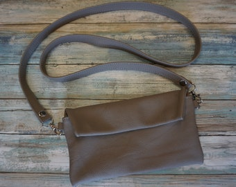 Leather Cross Body Bag, Leather Fanny Pack, Convertible Purse