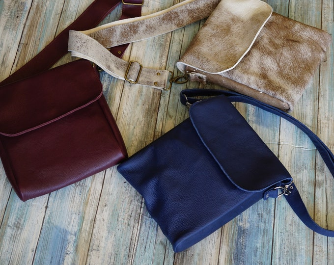 Featured listing image: Genuine Leather Guide Bag, Cross Body Bag, Murse, Man Purse, Travel Bag, Leather Purse