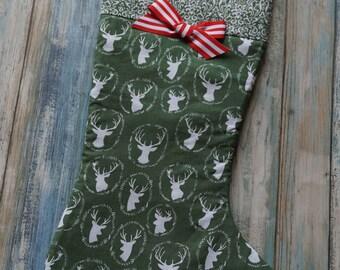 Country Christmas ~ Holiday Stocking ~ Vintage Deer Print ~ Green Reindeer Print ~ Rustic Country Print Christmas Stockings ~ Xmas Vintage