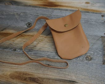Soft Leather Cross body Cell phone Pouch with long strap, Cross Body Bag